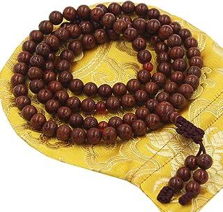 DharmaObjects Tibetan Buddhist Meditation 108 Beads Genuine BODHISEED MALA for Compassion Red Lotus Seed
