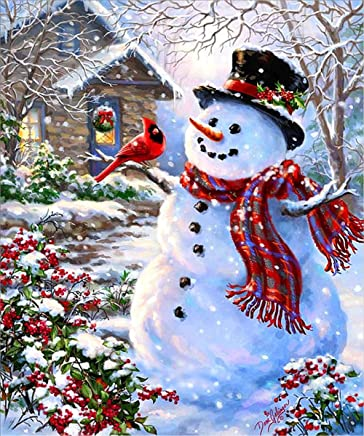 5D DIY Diamond Painting Rhinestone Embroidery Kit for Wall Decoration Snowman 12X16 inches