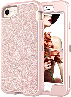 Co-Goldguard iPhone 6s Case,Case for iPhone 6 Glitter Case Sparkle Bling Cover Heavy Duty Shinning Hard PC and Soft TPU Rubber Bumper Full Protective Shell with Front Cover,Rose Gold