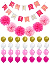 RZSAIDA HAPPY BIRTHDAY BANNER DECORATIONS - Perfect Party Supplies Kit, Hot Pink, Pastel Light Baby Pink, White Gold Foiled Bunting Flag Garland, Tissue Paper Fluffy Flower Pom Poms, Balloons,Girl Boy
