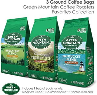 Green Mountain Coffee Roasters Green Mountain Coffee Ground Coffee Favorites Collection Variety Pack, 100% Arabica, 12oz. Bagged, 3Count, Ground Coffee Favorites Selection, 3Count
