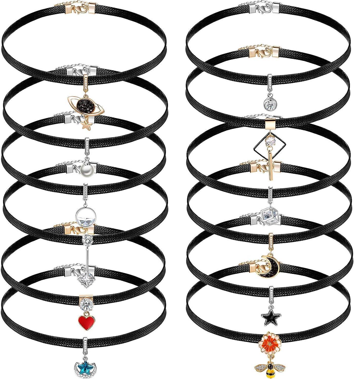 Hicarer 12 Pieces Black Faux Leather Choker Necklace for Women 15 Inch Adjustable Choker Pendant Necklaces Leather Classic Gothic Chokers for Women Girls Accessories