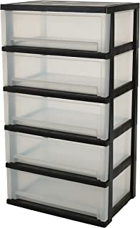 IRIS, rullskåpa/rullcontainer/låda 'Smart Wide Chest', SWC-505P, 5 lådor, för verktyg, plast, svart, 39 x 54 x 93 cm