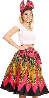 AMA Women's Vintage Circle African Ankara Print Midi Skirt with Pockets