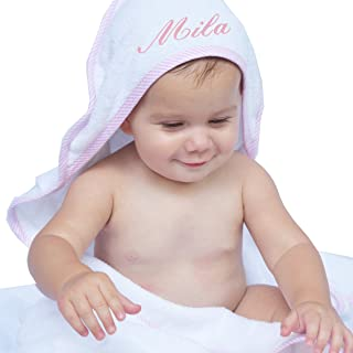 Personalized Baby Hooded Bath Towel - Monogrammed Girl and Boy Gifts - Embroidered for Free (White with Pink)