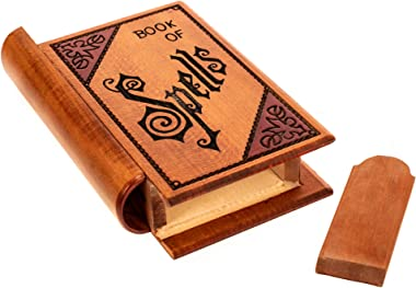 M. Cornell Books of Spells Trick Carved Natural Brown 8 x 5 Solid Wood Decorative Box