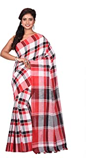 TRIMAYA Red, Black & White Imon Check Handloom Cotton Women's Saree