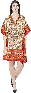 SKAVIJ Women's Tunic Viscose Caftan Casual Short Maxi Dress (Free Size)