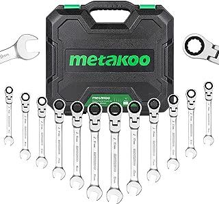 Metakoo 12-piece Flex-Head Ratcheting Combination Wrench Set, Chrome Vanadium Steel, Metric Size: 8-19mm, with Blow Molded Case, MRWS02