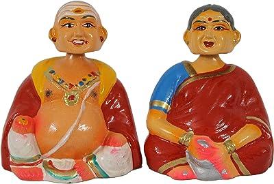 "UNIKK Paper Mache Tanjore Thatha Patti Grand Pa Set Golu Doll (Red, 8.75"" L X 3.25"" W X 5.5"" H)"