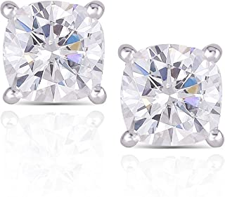 DovEggs 10K White Gold Post 2.2CTW 6MM G-H-I color Cushion Cut Moissanite Simulated Diamond Stud Earrings Platinum Plated Silver Push Back
