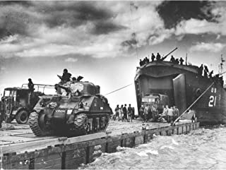War WWII USA UK USS LST-21 British Tanks D-Day 1944 Photo Large Wall Art Poster Print Thick Paper 18X24 Inch