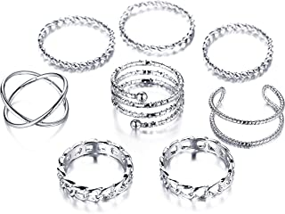 FINETOO 8 PCS Simple Knuckle Midi Ring Set Vintage Silver for Women/Girl CZ Finger Stackable Rings Set DIY Jewelry Gifts