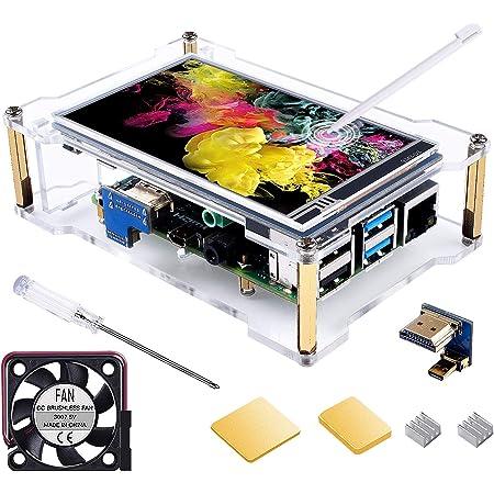 Smraza 4 インチ LCD モニター Raspberry Pi 4 IPS タッチスクリーン ディスプレイ 800*480 HDMI LCDディスプレイタッチパネル RPI 4b 8gb / 4gb / 2gbに適合 タッチペン、フャン、ヒートシンク付き (Raspbian、Kaliをサポート)