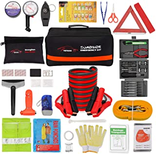 Vetoos Roadside Emergency Car Kit with Jumper Cables, Auto Vehicle Safety Road Side Assistance Kits, Winter Car Kit for Wo...