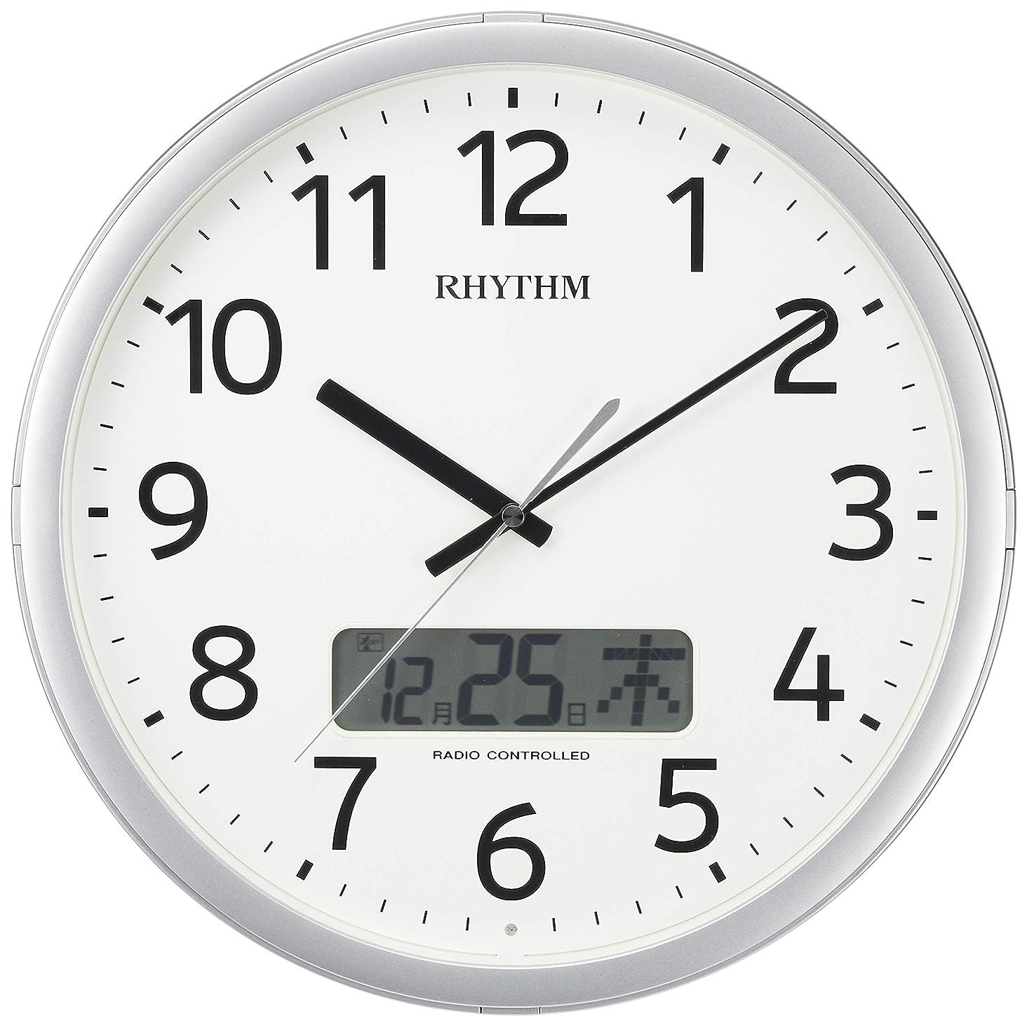 物思いにふけるドックしなやかな掛け時計 電波時計 チャイム付き プログラムカレンダー01SR シルバー リズム時計 4FNA01SR19