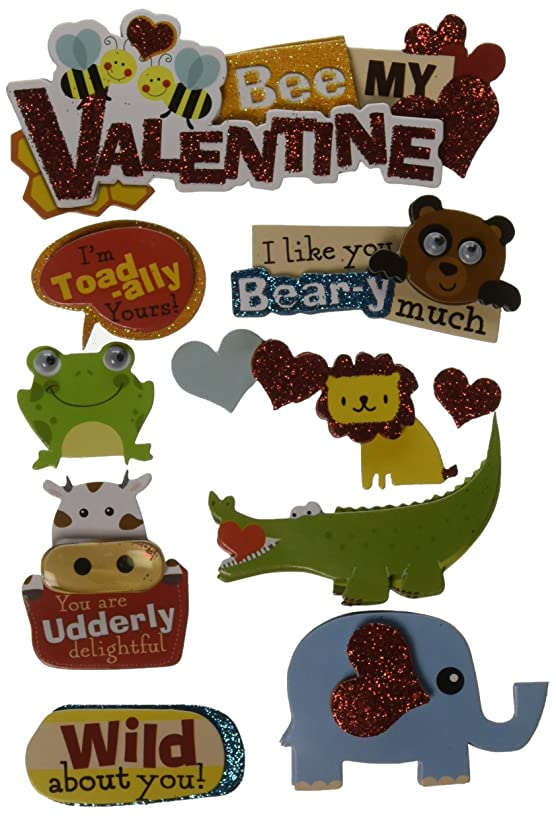 Paper House Productions STDM-0171E 3D Cardstock Stickers, Bee My Valentine (3-Pack)