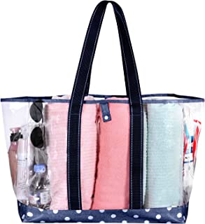 VENO Beach Bag Clear PVC Tote Water Resistant Inside Pocket for Pool GYM Stadium (Blue)