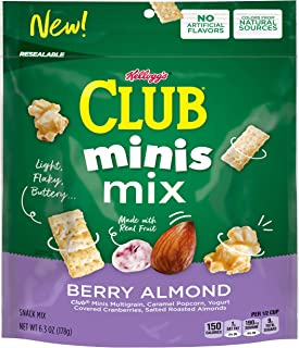 Kellogg's Club Minis Mix, Snack Mix, Berry Almond, 6.3oz Bag(Pack of 6)