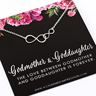 Godmother and Goddaughter Gift • Double Infinity Necklace • 925 Sterling Silver • Infinite Love • Will you be my Godmother • Proposal Baptism Christening Jewelry • Thank You • I love You Gift