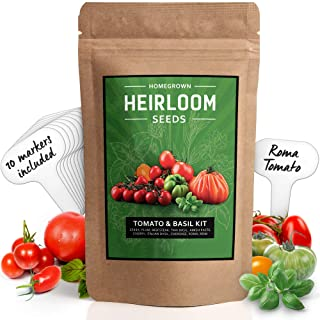 Heirloom 8 Tomato Seeds and 2 Basil Herb Pack   Non GMO   Zebra, Roma, Yellow Plum, Amish Paste, Cherry, Cherokee, Beefsteak, Krim, Italian Basil, Thai Basil   Plant Markers and Instructions Included