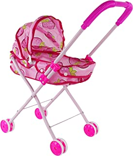 CNW Toys Children's Play 80's Vintage Modern Cute Strawberry Toy Baby Doll Stroller, Pink