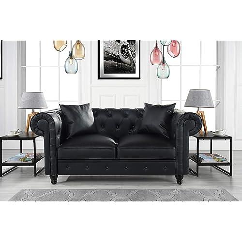 289b33e16dae DIVANO ROMA FURNITURE Classic Living Room Bonded Leather Scroll Arm Chesterfield  Loveseat (Black)