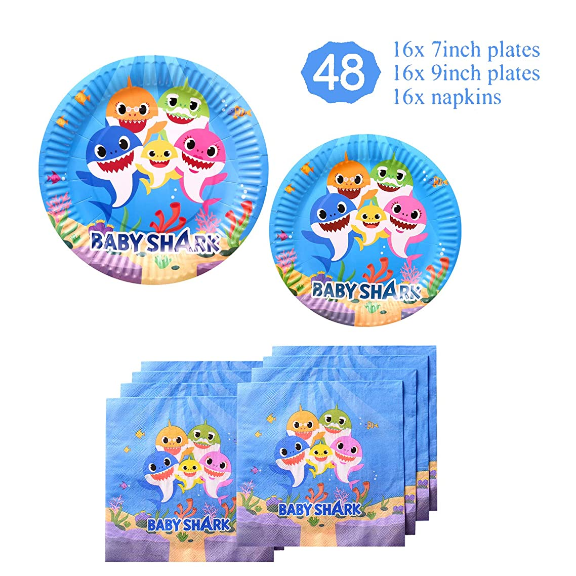 Grabo Shark Baby Themed Party Supplies Set – Cute Shark Plates and Napkins - Cute Shark Birthday Party Decorations for Kids - Serves 16
