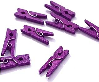 10 Petites Mini Pinces à Linge en Bois Couleurs Fournitures Attache Clip Miniature (Violet)