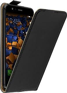 mumbi Echt Leder Flip Case kompatibel mit Huawei P10 lite Hülle Leder Tasche Case Wallet, schwarz
