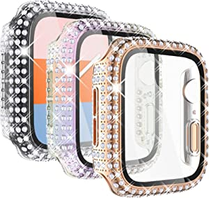 KADES 3-Pack Bling Cases Compatible for Apple Watch Case with Built-in Screen Protector for iWatch SE 38mm 40mm 42mm 44mm Series 6 5 4 3 2 1 (44mm, Rose Gold/Iridescent/Clear)