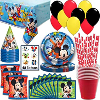 Mickey Mouse Party Supplies, Serves 16 - Plates, Napkins, Tablecloth, Cups,