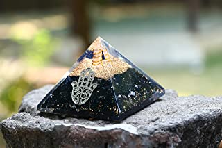 Crocon Black Tourmaline Orgone Pyramid With Hamsa Hand Chakra Balancing Reiki Healing Aura Cleansing & EMF Protection Size...