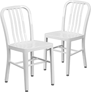 Flash Furniture 2 Pack White Metal Indoor-Outdoor Chair
