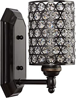 Doraimi 1 Light Crystal Wall Sconce Lighting with Painting Black Finish,Modern and Concise Style Wall Light Fixture with Polyhedral Opal Crystal Shade for Bath Room, Bed Room, LED Bulb(not Include)