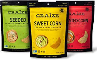 Sponsored Ad - Craize Thin & Crunchy Toasted Corn Crackers – Classic Pack Flavored Healthy & Organic Gluten Free Crackers ...