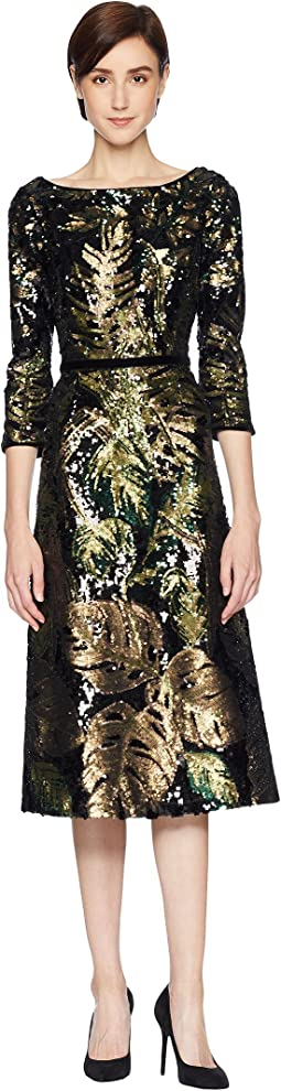 Marchesa Notte 3/4 Sleeve Sequin Tea Length Cocktail with Velvet Trims