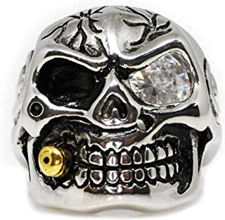 Cubic Zirconia Bullet to The Head Skull Biker Ring Stainless Steel (Sizes 7-16)