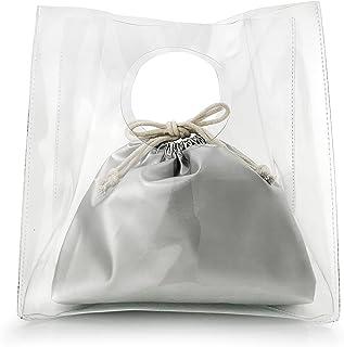 レディースクリアPVCハンドバッグ シースルービニールバッグ 巾着ポーチ付き透明バッグinバッグ