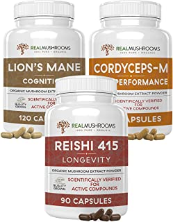 Real Mushrooms Brain, Vitality & Immune Support Bundle - Lion's Mane Cognition Capsules (120 Capsules) + Reishi 415 Longev...