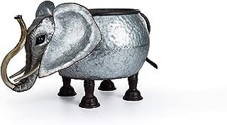Lanperle Decorative Galvanized-Metal Elephant Planter | Garden Decoration | Gardening Gift/Souvenir | Metal Flower Pot/Vase Decor