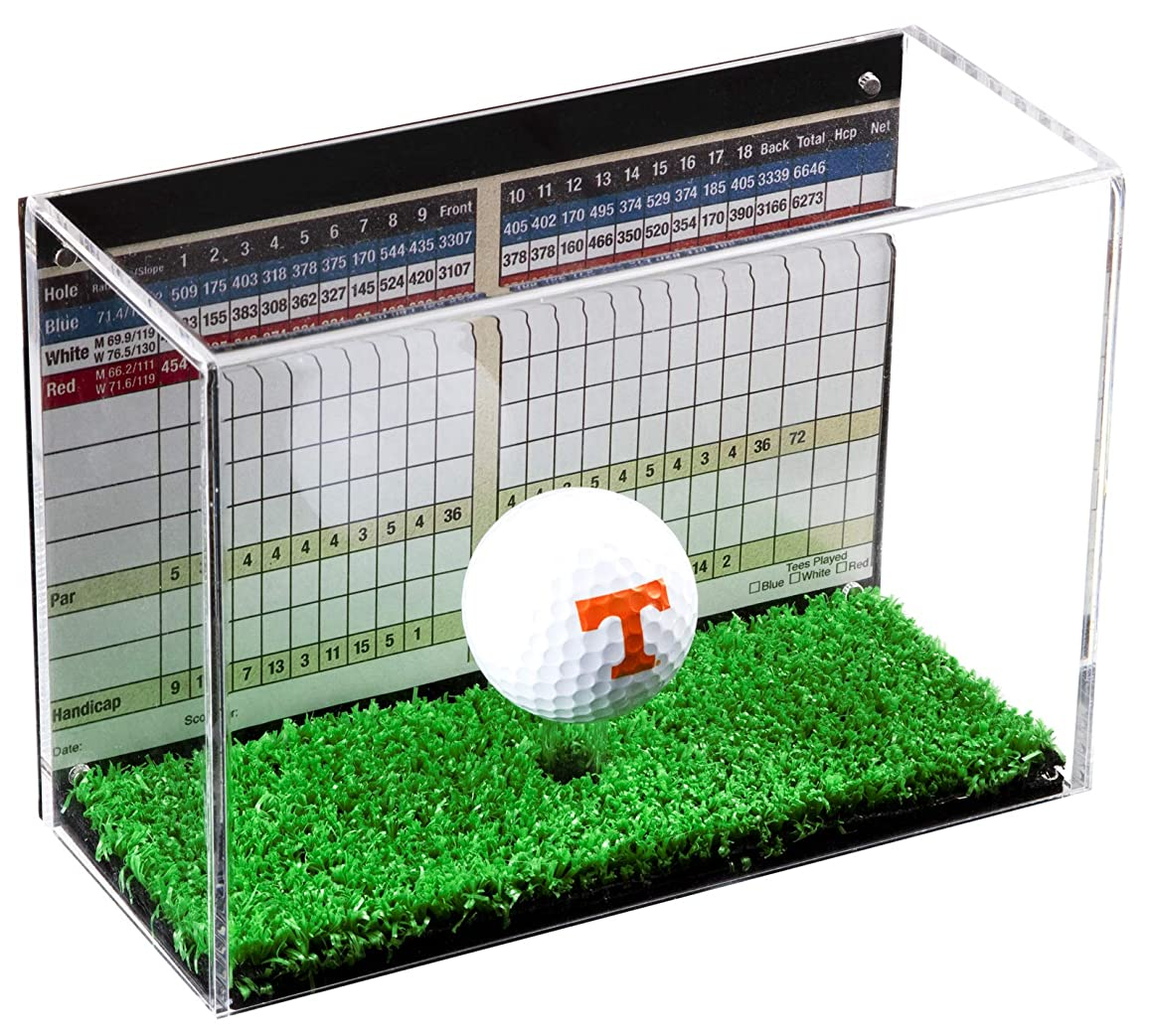 Deluxe Clear Acrylic Golf Ball Display Case with Black Back and Turf Floor (A045-TB)