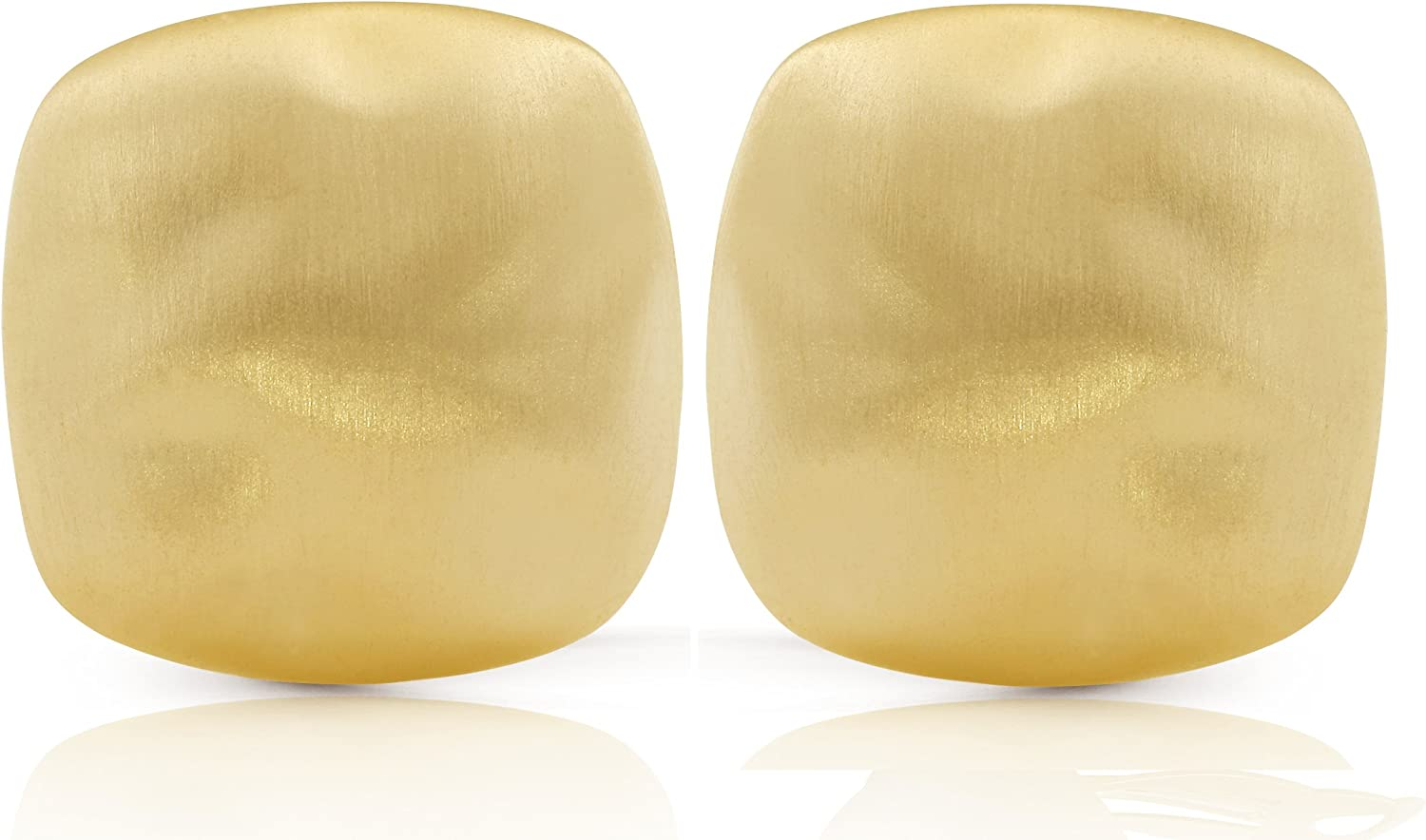 JanKuo Jewelry Gold Plated Large Square Matte Finish Clip On Earrings