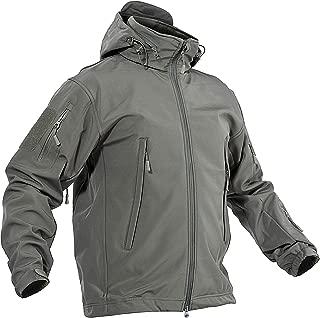 BIYLACLESEN Men's Winter Outdoor Coat Hooded Softshell Fleece Army Jacket Casual Waterproof Windproof Tactical Jacket