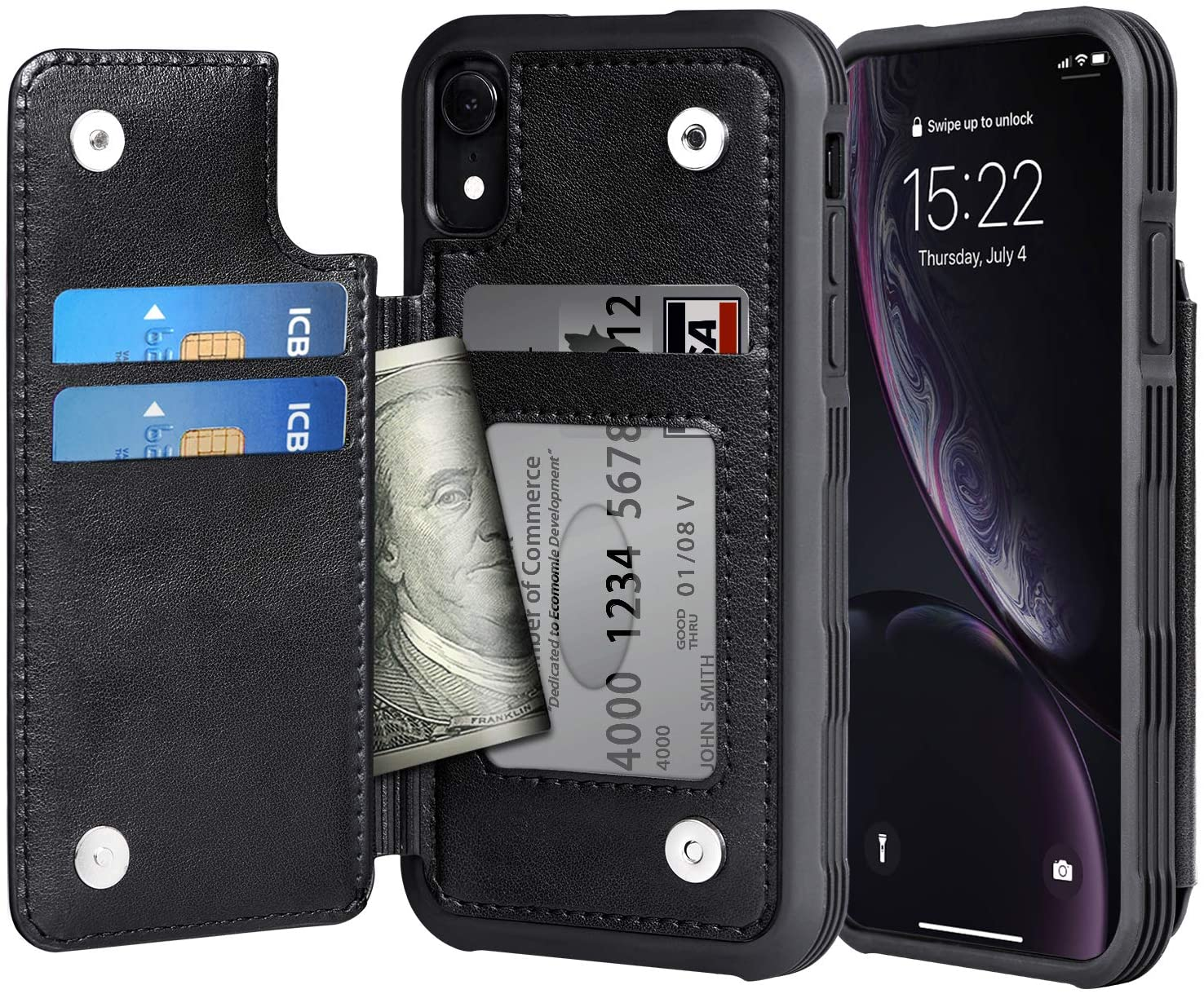 Arae Case for iPhone Xr - Wallet Case with PU Leather Card Pockets [Shockproof] Back Flip Cover for iPhone Xr 6.1 inch (Black)