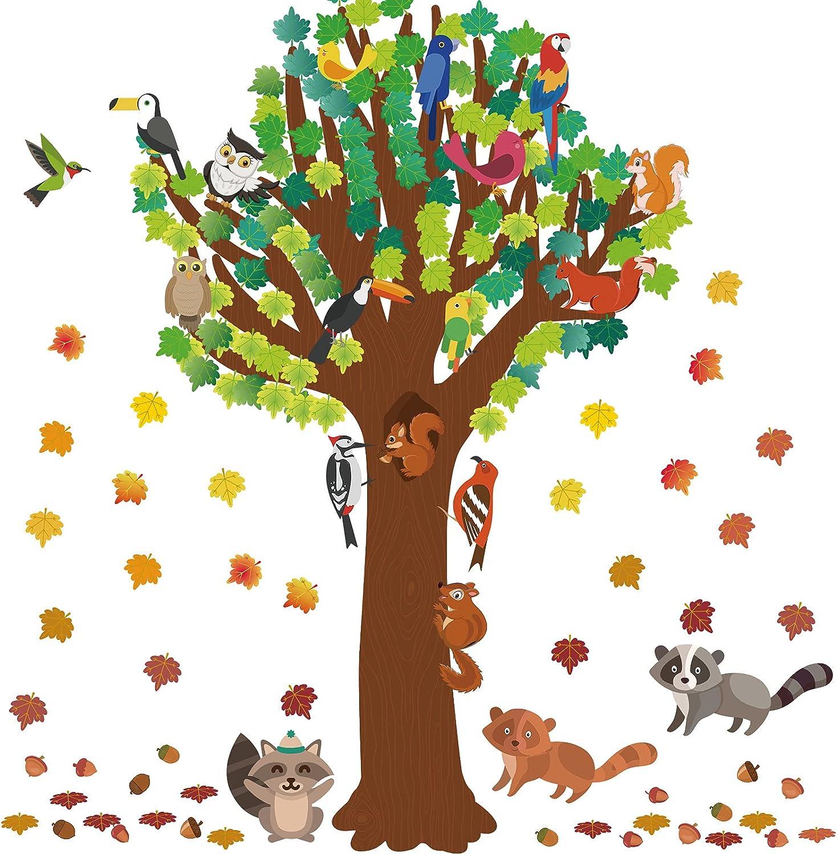 163 Pieces Tree Bulletin Board Decor Thanksgiving Fall Autumn Classroom Woodland Bulletin Board Tree Cutout Forest Animals Squirrel Owl Bird Maple Leaves Acorns Cutouts for Preschool Classroom Decor