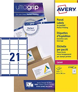 Avery Self Adhesive Address Mailing Labels (Amazon FBA Barcode Labels), Laser Printers, 21 Labels Per A4 Sheet, 210 Labels, UltraGrip (L7160)