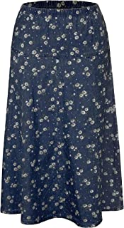 Baby'O Womens Ultra Soft Lightweight Denim Fit and Flare A-Line Midi Skirt (X-Small Dark Blue w/Floral Pattern)