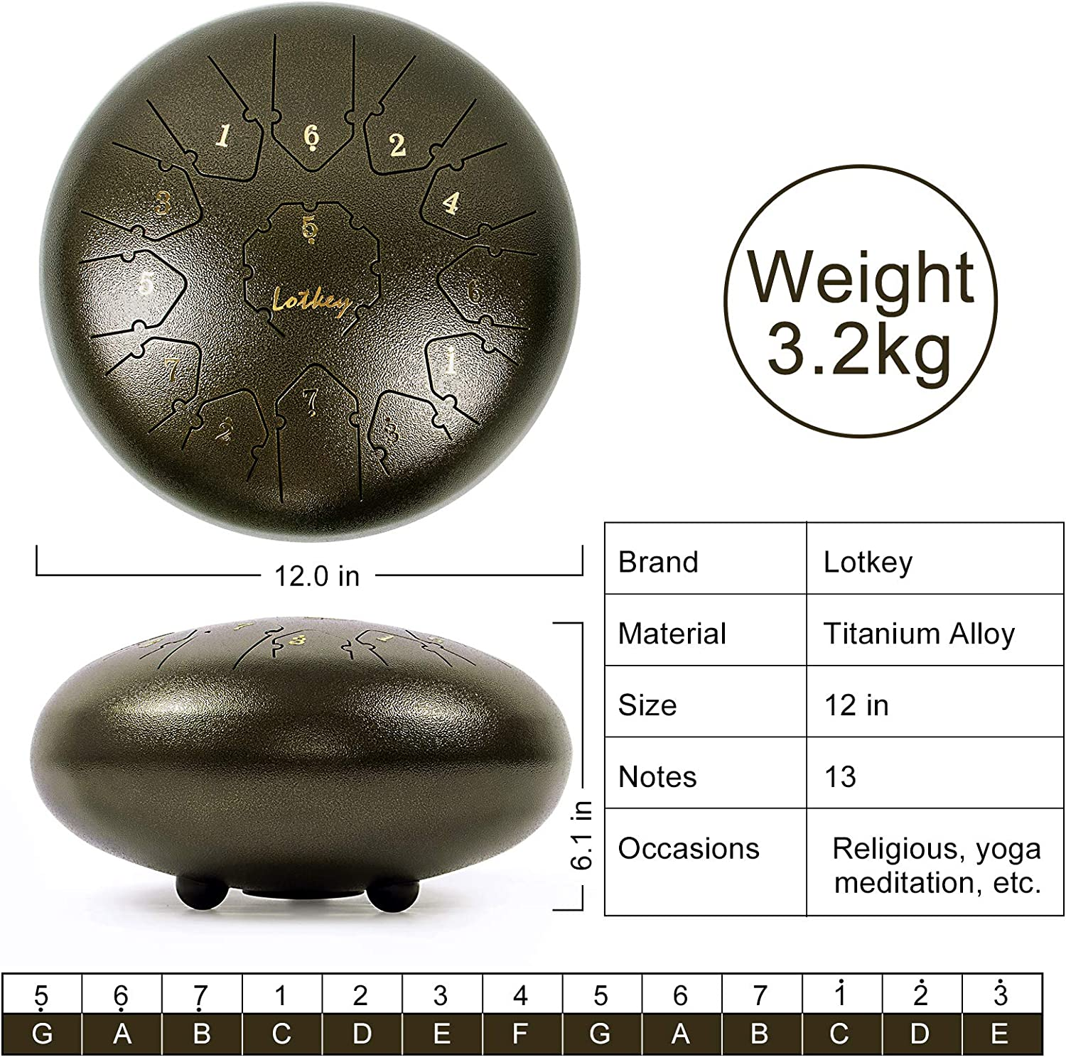 Brown Steel Tongue Drum 12 inch 13 Notes Percussion Instrument with Drum Mallets Music Book Carry Bag