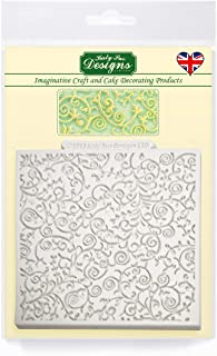 """Katy Sue Designs Romantic Swirl 4"""" x 4"""" Design Mat Silicone Mold for Cake Decorating, Cupcakes, Sugarcraft, Candies, Clay, Crafts and Card Making, Food Safe"""